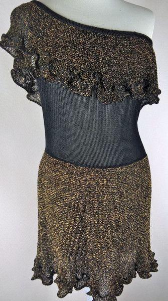 Sukienka mini z odkrytym ramieniem - Eko-Lniano - Sukienki bez ramiączek