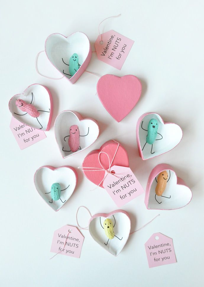 """Glue these peanut people into heart-shaped boxes, attach a note that reads """"I'm nuts for you!"""" and you've got an adorable Valentine!"""
