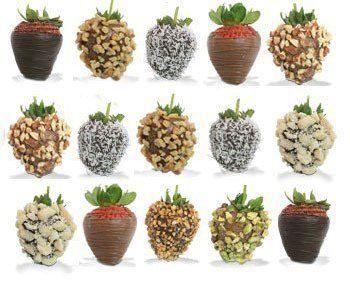 Fresas con chocolate bañadas con nuez, almendra, coco, cacahuate, amaranto, granillos de chocolate y mucho más.  www.arreglosfrutales.com.mx
