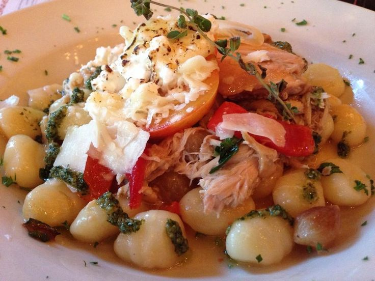 ... Confit with pearl onions and gnocchi. Umbria Rustic Italian, Columbia