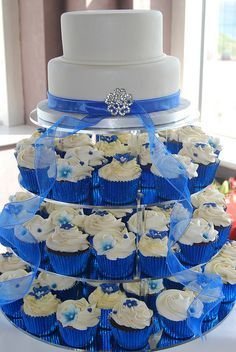 hydrangea cupcake wedding cake royal blue white - Google Search