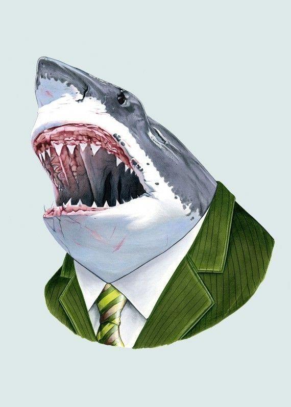 Great White Shark wearing a green suit - art print by Ryan Berkley (berkleyillustration on etsy)