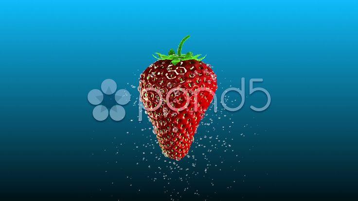 Fresh Strawberry with Splashing Water Loop - Stock Footage | by maraexsoft