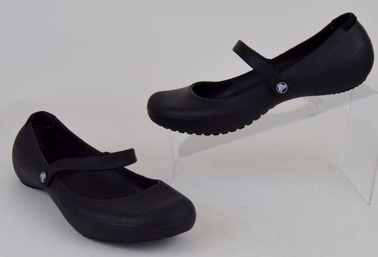 Crocs Shoes Women's Size 7 Black Croslite Mary Janes Flats #Crocs #BalletFlats #Casual