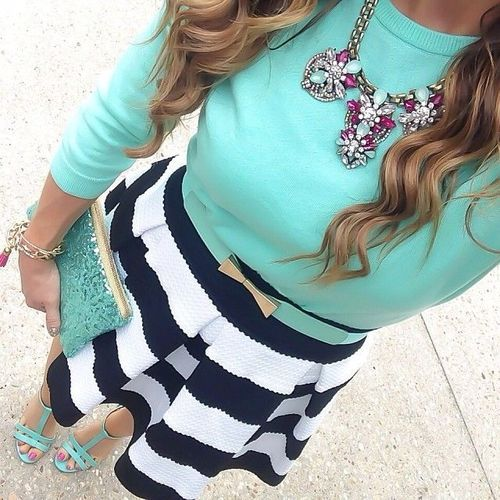 tiffany blue sandals, clutch, top / black and white striped skirt / statement necklace with bold pink accents