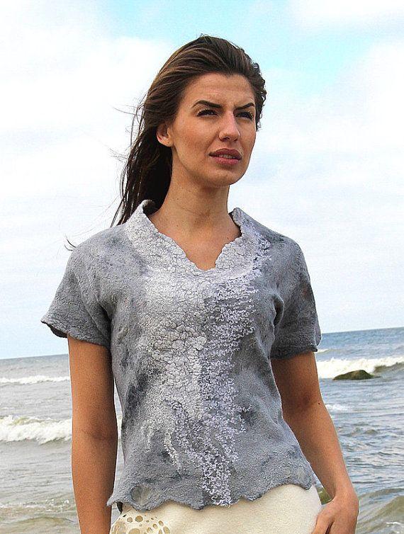 Felted blouse low price grey silk merino wool fairytale shades mini nunofelt stylish Regina Doseth handmade in Lithuania EU