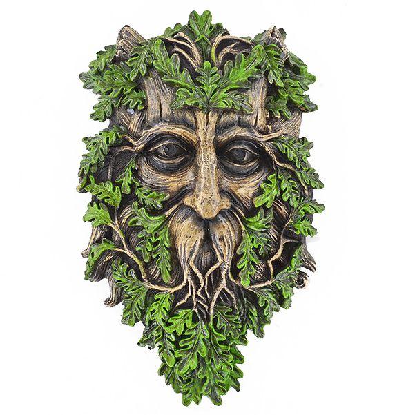 Green Man Figurine Wicca Pagan Garden Decor Wise Oak Tree Spirit Wall Plaque