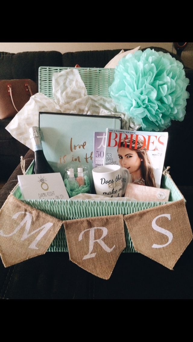 Engagement gift basket for the bride to be