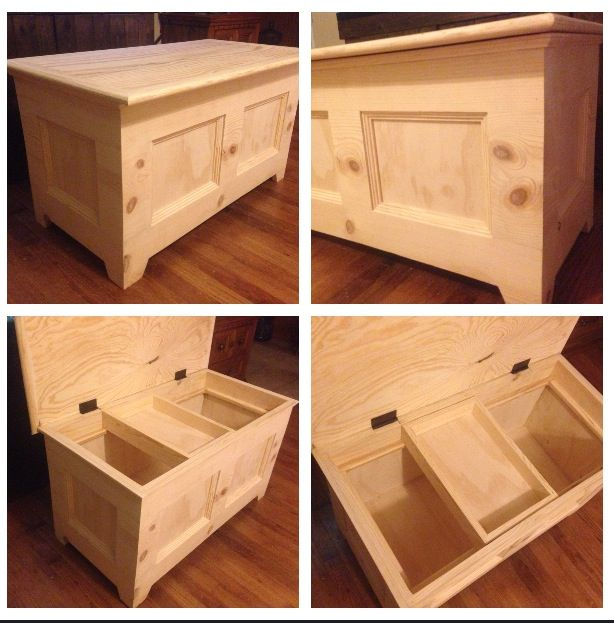 hand made wooden toy box! solid pine.. will go great in the nursery ...