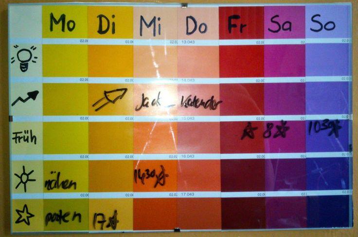 Wandkalender Wochenkalender Stundenplan, Seminarplan Colourful Week, Calender for the wall, School, University DIY,
