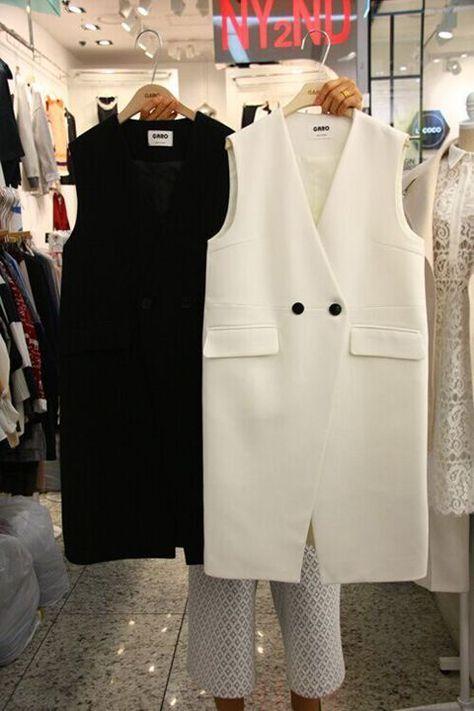 Весна новый 2016 с legth майка женская две кнопки крышка карманы белый жилеты