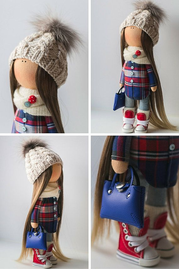 Teenager tilda doll Art doll handmade brown red blue black colors Soft doll Cloth doll Fabric doll winter toy by Master Diana E.    Hello, dear visitors!  This is handmade soft doll created by Master Diana E. (Moscow, Russia). Doll is 30 cm (11.6 inch) tall and made of only quality materials.  This doll is made TO ORDER. You will receive almost exact same toy. Any changes are made upon agreement between Master and Buyer.  Order processing time is up to 10 calendar days.  Shipping is 20 USD…