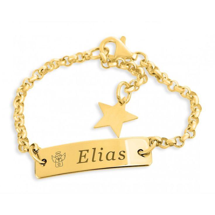 Wunderschönes Armband aus 925 Sterling Silber in Juwelierqualität hochwertig vergoldet. Neben dem gravierten Engel wird Ihr Wunschname bzw Wunschtext designed.