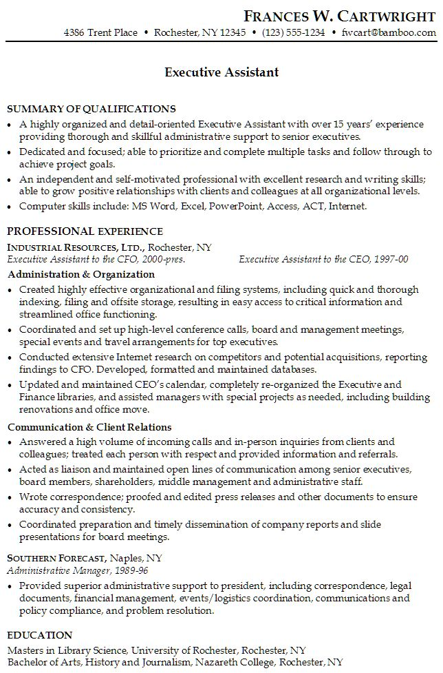 Sample Resume For Executive Administrative Assistant Resume For An  Executive Assistant Susan Ireland Resumes, Administrative Aide Sample Resume  Credit ...  Best Administrative Assistant Resume