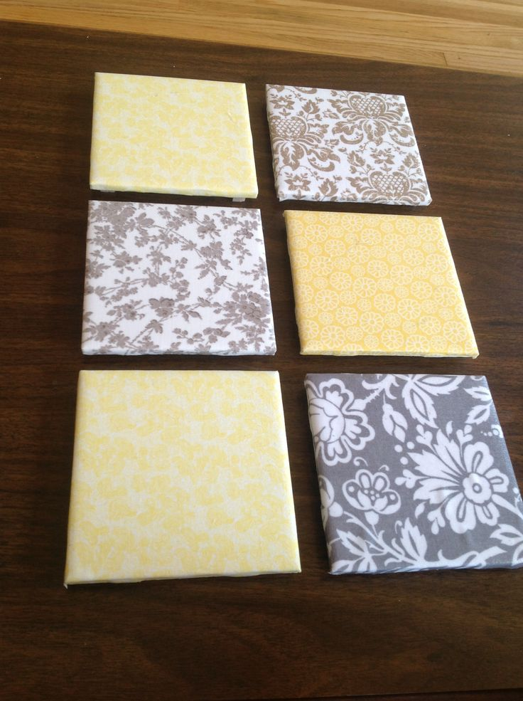 DIY coasters. Bought ceramic bath tile (15cents at menards