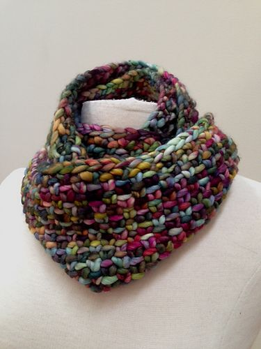 Quick Slip Cowl - Free Pattern - by Andra Asars Malabrigo Rasta in Arco Iris - Available at Unwind Yarn & Gifts.