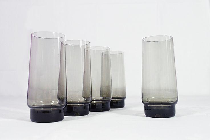 5 Longdrinkgläser, Rauchglas Driburg Kristall von Tante Hermann auf DaWanda.com