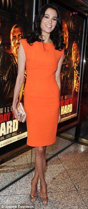 Emma Heming, Bruce Willis' wife.. looking elegantly orange - at the premiere of A Good Day To Die Hard in London.