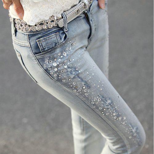 2015 primavera y el verano de diamantes vaqueros delgados pantalones flacos pantalones con el diamante que rebordea elástico pantalones ropa barata china(China (Mainland))