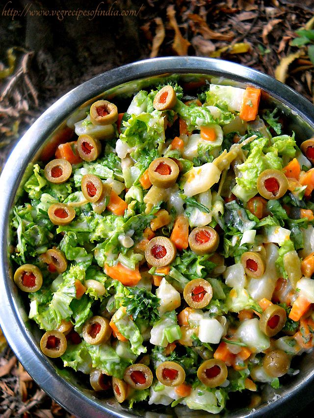 spanish salad: eggless spanish salad, vegetarian spanish salad recipe