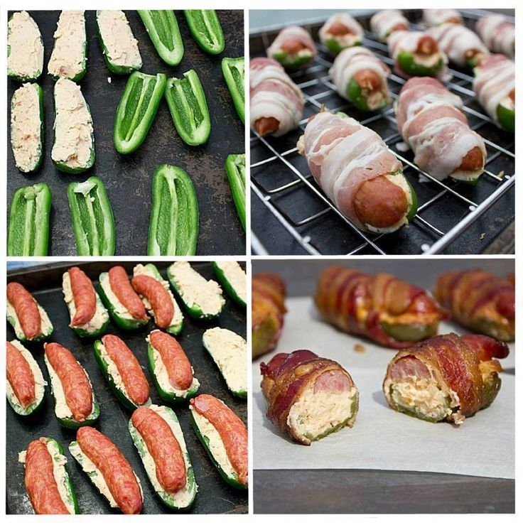 10 jalapeno peppers     10 bacon slices, cut in half     10 mini sausages or smokies (or 20 if they are very small)     1 cup cream cheese     1 cup grated monterey jack     1 tsp chipotle powder     2 shallots, minced
