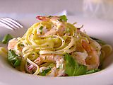 linguine with shrimp and lemon oil. made this on valentines day...sooo good. although next time i think i would season the shrimp before adding to the linguine for extra flavor. i think it could be good with chicken or tofu as well, and using any leafy greens from your garden.