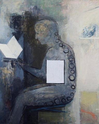 Simon Stone - A Retrospective Exhibition (Artwork entitled 'Reading the Text', 1985, Oil on Canvas) #StandardBank #Gallery #Art