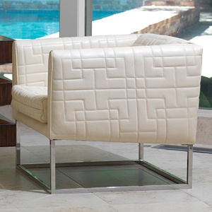 Quilted Tuxedo Chair in Ivory NEW