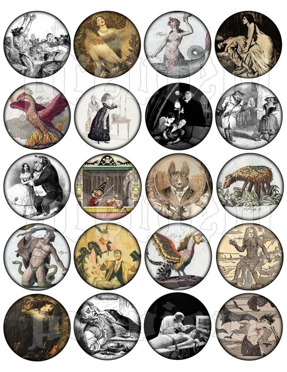 Vintage Oddities 2 Inch Circles Digital Collage Sheet, Illustrations, Drawings, Victorian, French, Strange, Bizarre, Occult, Mythical, Creatures, anthropomorphic