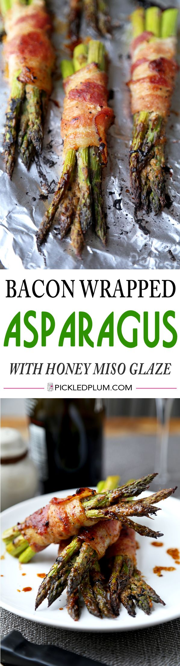 A healthy and delicious bacon recipe! Bacon wrapped asparagus with honey miso glaze - gluten free too! http://www.pickledplum.com/bacon-wrapped-asparagus-miso-glaze-recipe/