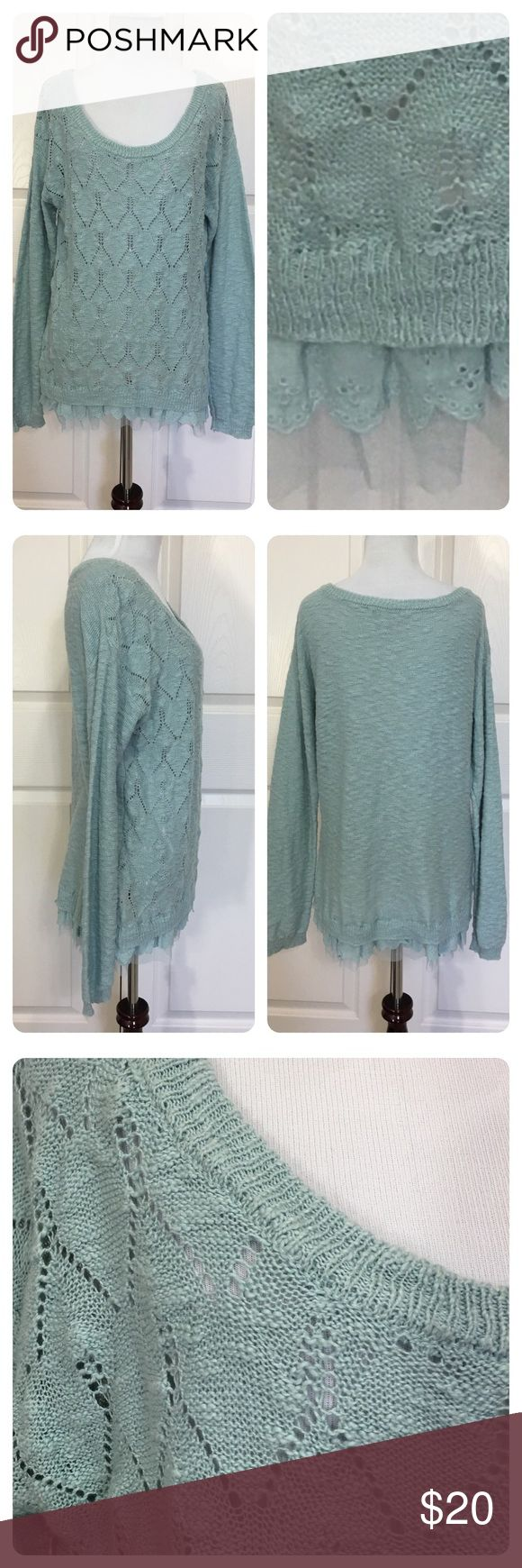 American Rag boho chic sweater American Rag light blue sweater with lace and netting trim. Pretty feminine boho chic sweater. Great with any colored skinnies. No flaws noted. Light wear. American Rag Sweaters