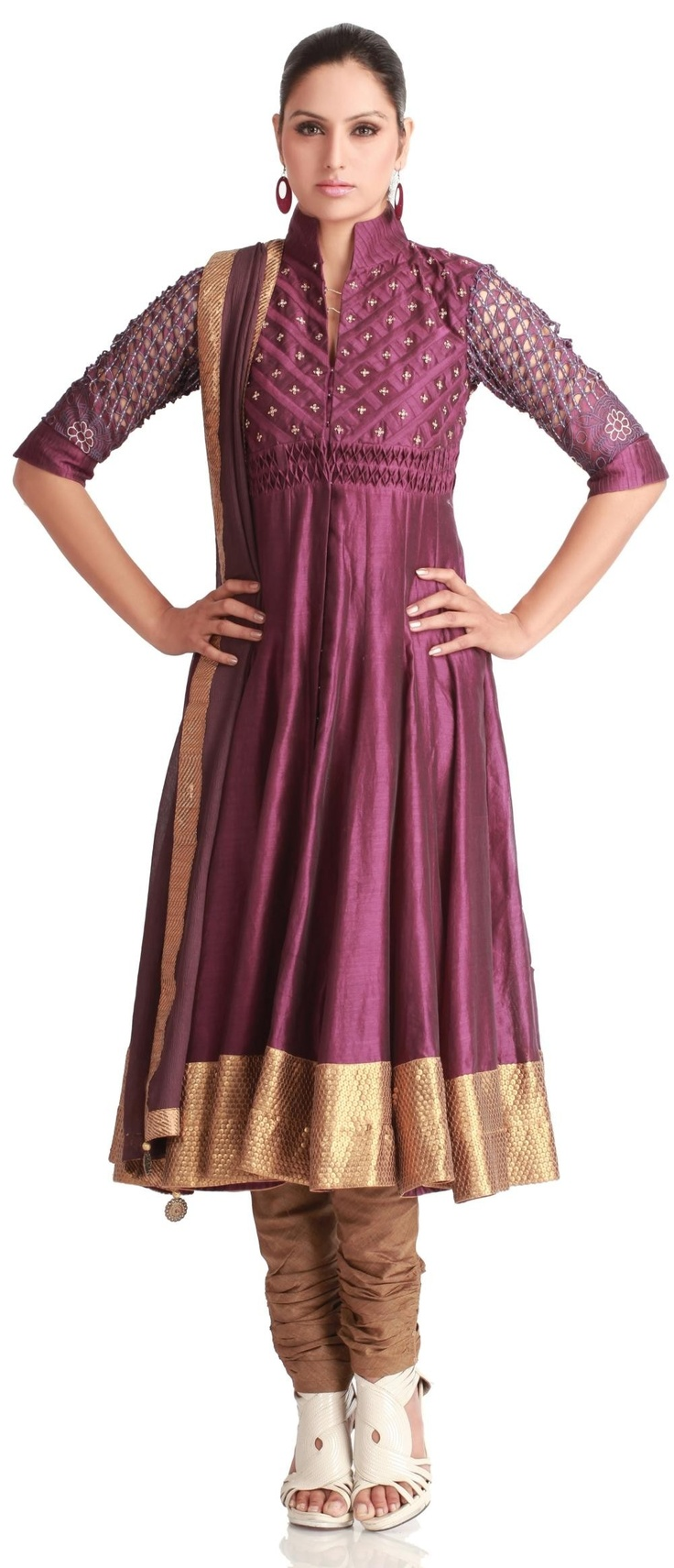 Wine Jacket Styled Kurta Churidar ideal for evening occasions. Buy online at Angarkh.com