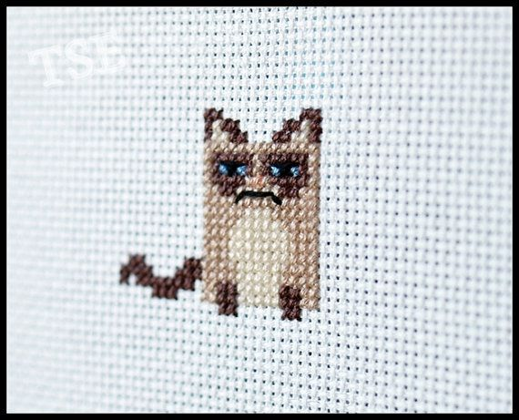 Grumpy Cat Cross Stitch Pattern - Kawaii Version  ( Printable PDF ) - Immediate Download from Etsy - Tarder Sauce Cute Kitten