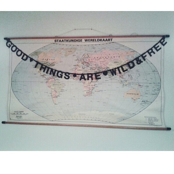 Retro school map and 'Say whatever you like' banner