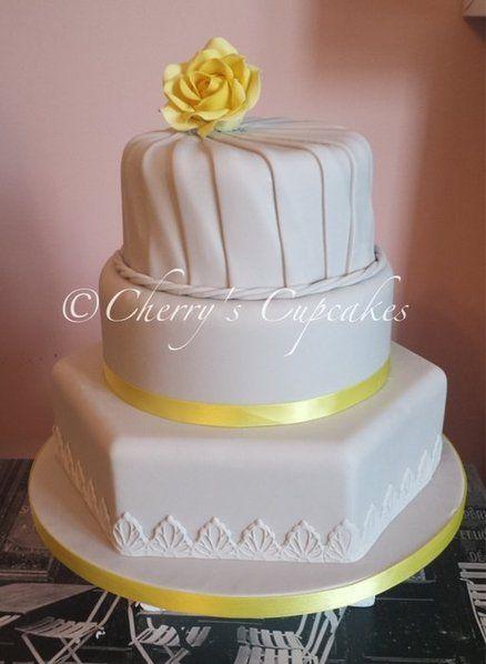 Lemon Rose Pleated Wedding Cake