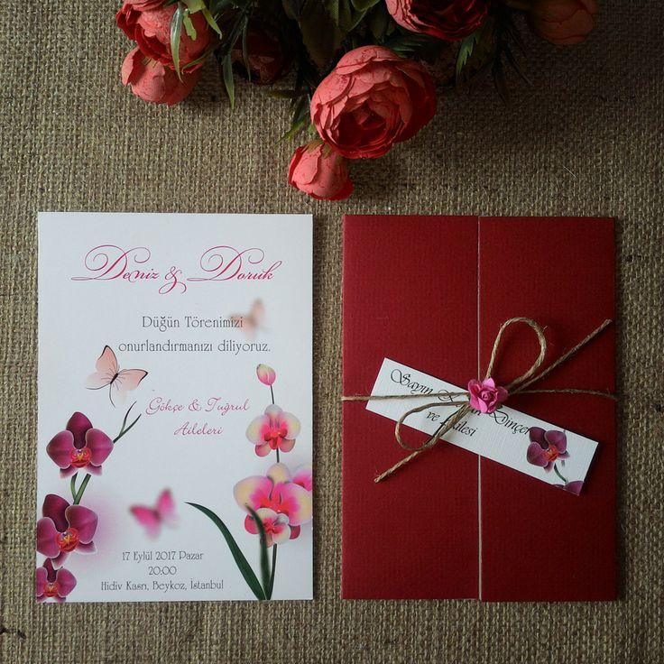 Masal Davetiye  Orkide, Kırmızı Kapak, ham ip, isimik ve kağıt gül