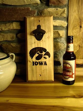 Bottle Opener, Iowa Hawkeyes, Tailgate Bottle Opener, Wood Burned Hawkeye Design, Rustic Bottle Opener, Beer Bottle Opener, Party Opener