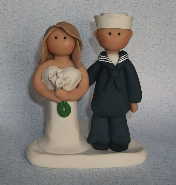 Navy Sailor Wedding Cake Topper by gingerbabies on Etsy, $58.00