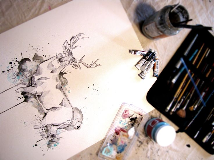 Work In Progress Deer Sketch Pen and Watercolor Marie-Eve Arpin - Art https://www.facebook.com/MarieEveArpinArt?ref=hl