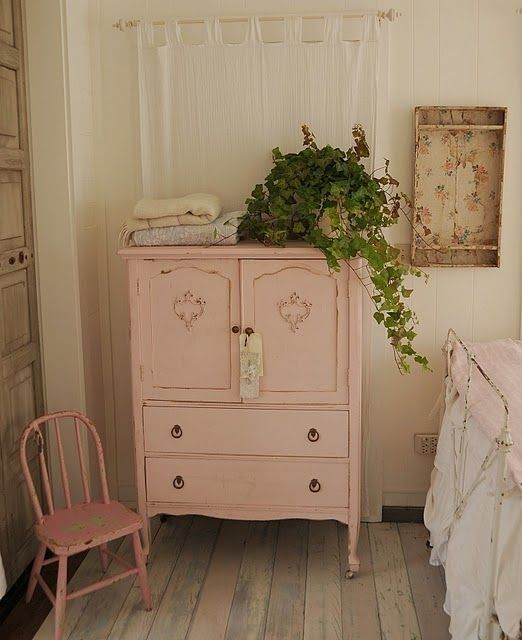 vintage pink cabinet . I am going to paint a piece of furniture in my bedroom this color. I love it :) by maureen
