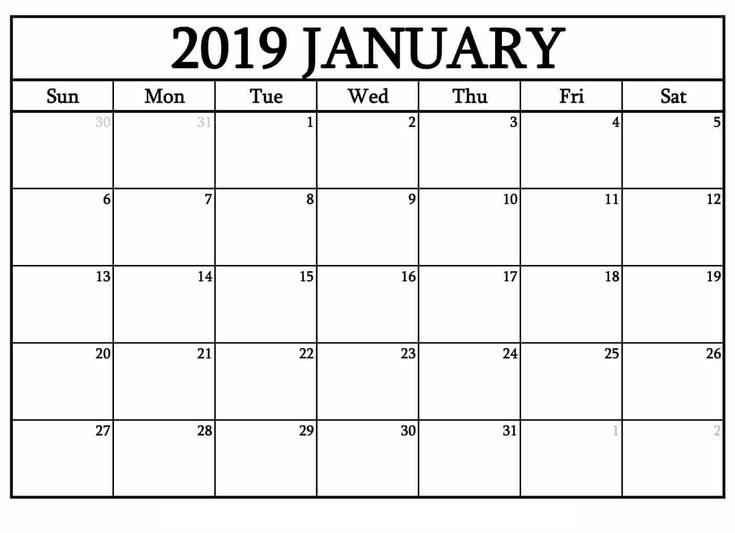Monthly Calendar January 2019 Free Download #Printable #Templates