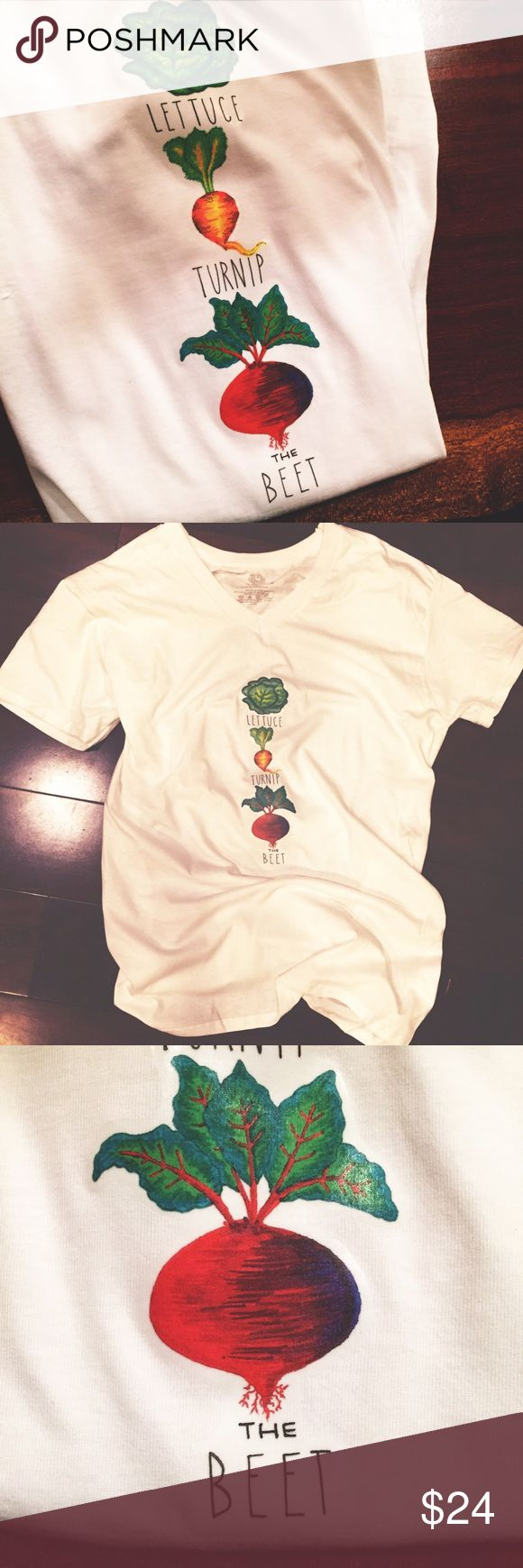 Limited Edition | Lettuce Turnip The Beet Shirt Unique veggie tee for lovers of musical vegetable puns! Hand drawn (by this kid) garden veggies that have been heat transferred upon a brand spankin new Fruit of the Loom men's tee (new, but came without tags). Let us turn up the beat!  (To wash: turn inside out, wash in cold water without bleach, and lay flat to dry.) Tops Tees - Short Sleeve