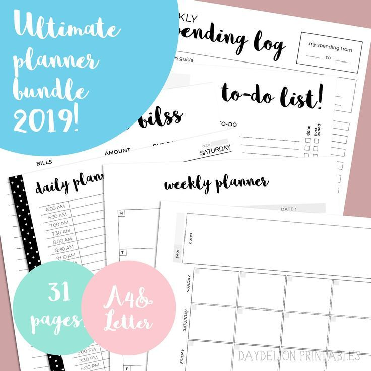 Ultimate Printable Life Planner 2019 Bundle in A4 and Letter! Daily planner week…