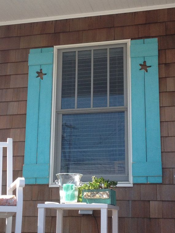 Shutter exterior interior one wood wooden beach cottage for Cottage style exterior shutters