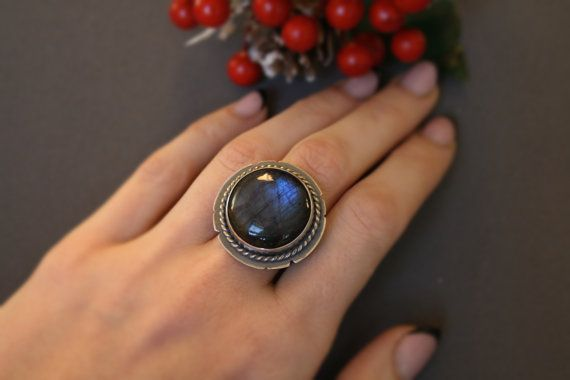 Large Statement Ring with Labradorite in Sterling  Silver by ErlingeJewelry #handmadesilverring #largelabradoritering #labradoriteribg #statementring #handmade #ring #labradorite #sterlingsilver