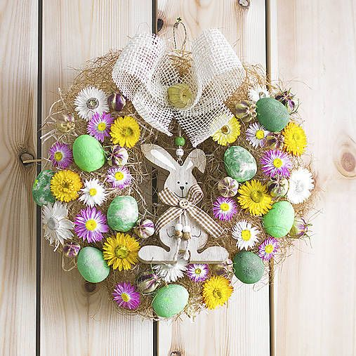 colourful easter wreath, rabbit