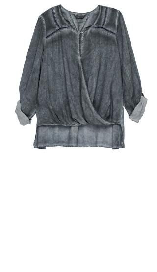 Sage Surplice Long Sleeve Woven Top