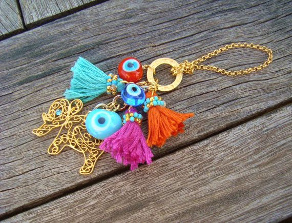 Gold Filigree Elephant Charm Evil Eye Beaded Tassel by cocolocca