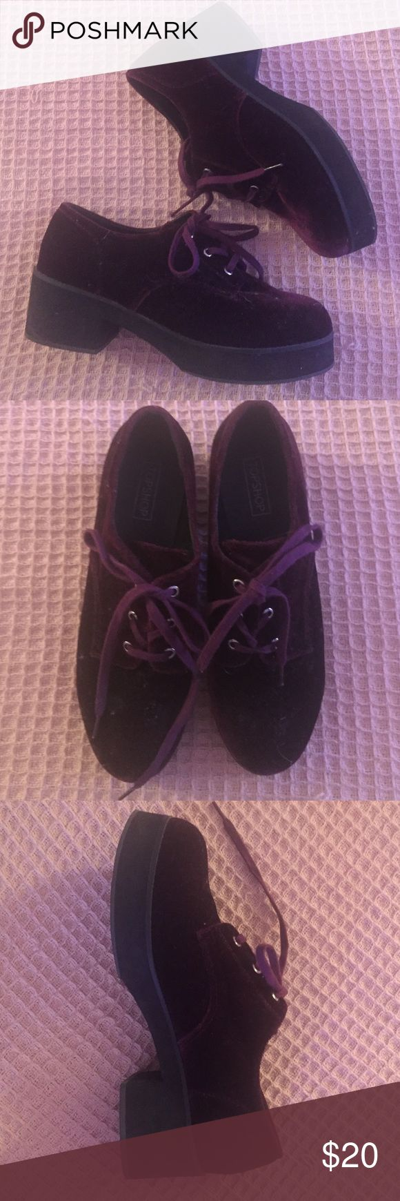 Dark Purple Velvet TopShop Shoes Perfect condition :) Topshop Shoes Flats & Loafers