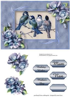 Beautiful Blue Tits Porcelain Roses on Craftsuprint designed by Anne Lever - features some beautifully painted birds, including two blue tits, perched on a branch singing; blue frame; embellished with blue roses.
